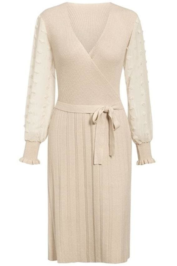 Dotted Chiffon Sleeve Pleated Knit Midi Dress (4Colors) - S / Ivory