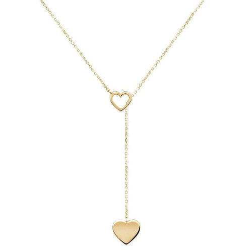 Double Hearts Lariat Necklace - Gold
