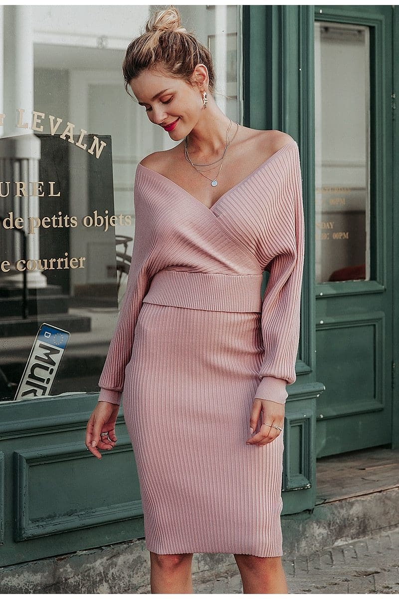 Dusty Pink Knitted 2-Piece Set