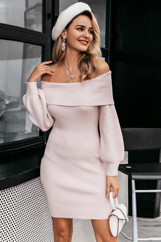 Dusty Pink Off Shoulder Bodycon Rib Knit Dress