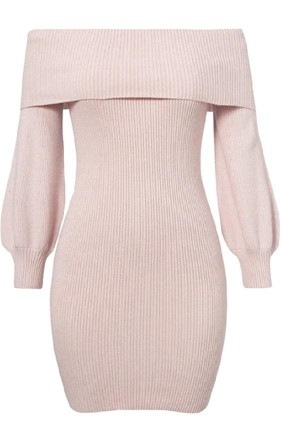 Dusty Pink Off Shoulder Bodycon Rib Knit Dress - S
