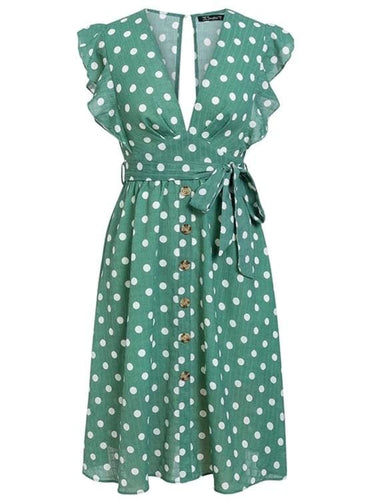 Emerald Green Polka Dot Mini Dress
