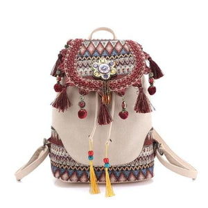 Ethnic Boho Backpack (3 colors) - khaki