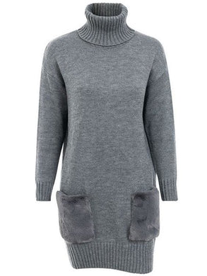 Faux Fur Pockets Sweater Dress (2 Colors) - Gray / One Size