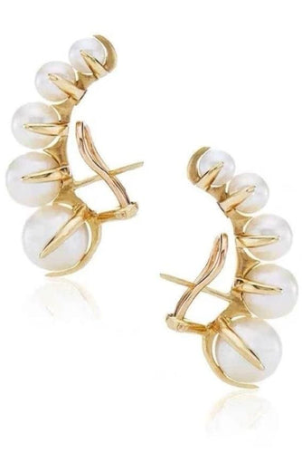 Faux-Pearl Clip Earrings