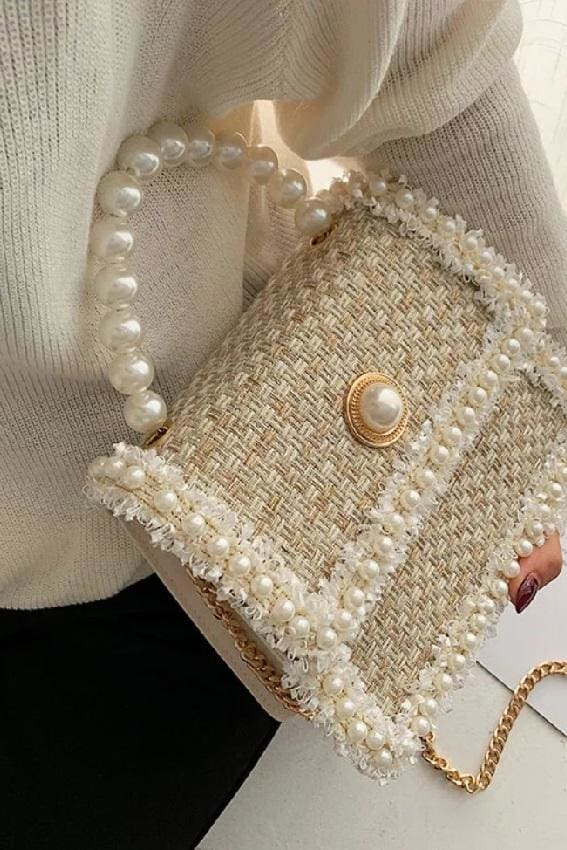 Faux Pearl Tweed Bag