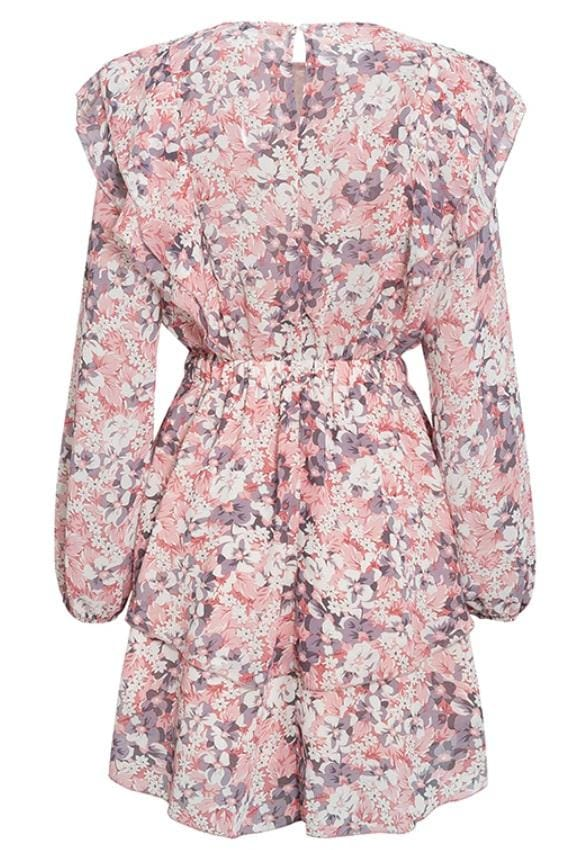 Floral Long Sleeve Ruffled Mini Dress