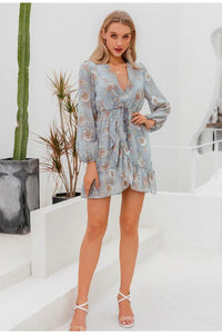 Light Grey Floral Print Long Sleeve Ruffle Dress