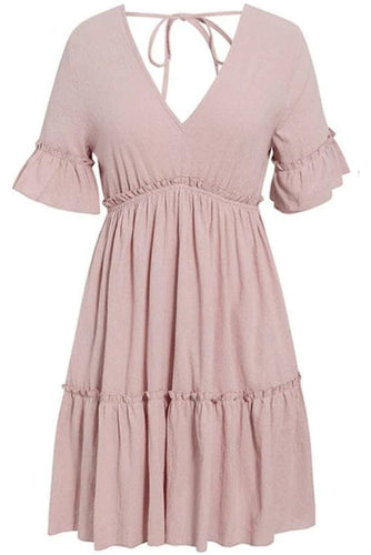 Frill Trim Tie Back Smock Dress (2∙Colors)