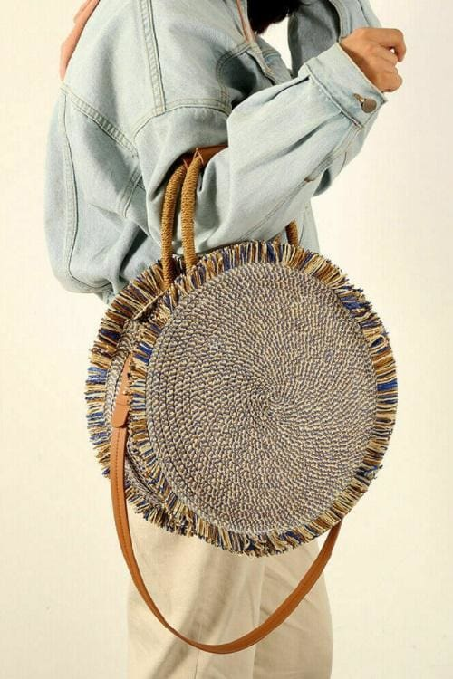Fringed Circular Tote Bag