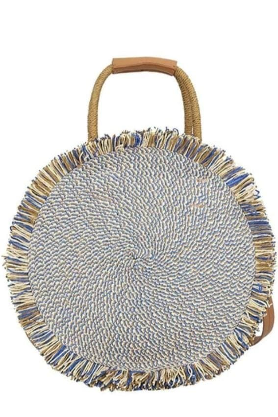 Fringed Circular Tote Bag (2 Colors) - Blue