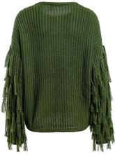 Fringed Sleeve Pullover Sweater (2Colors)