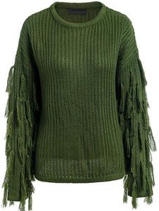 Fringed Sleeve Pullover Sweater (2Colors) - Green
