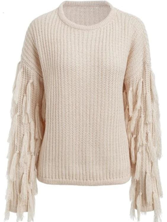 Fringed Sleeve Pullover Sweater - Peach