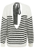 Fuzzy Striped Back Tie Sweater