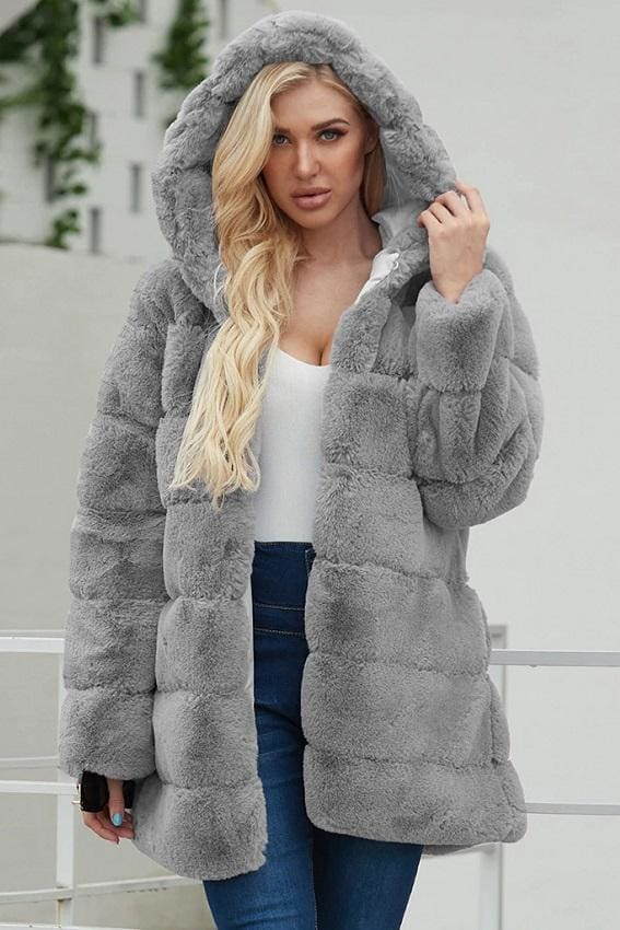 Gray Hooded Faux Fur Coat