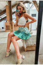 Green Floral Frilled Layered Mini Skirt