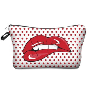I Am Beautiful Cosmetic Pouches (5 styles) - Red lips