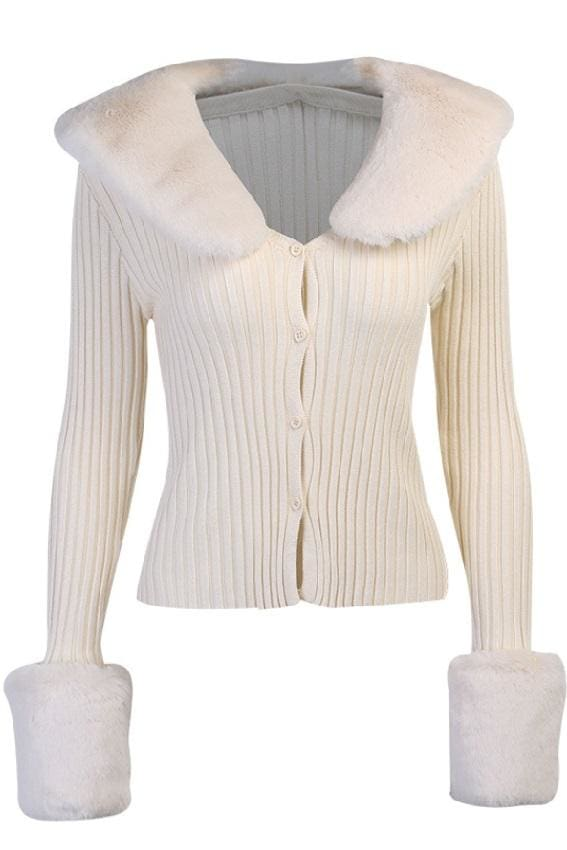 Ivory Faux Fur Trim Knit Cardigan - Ivory