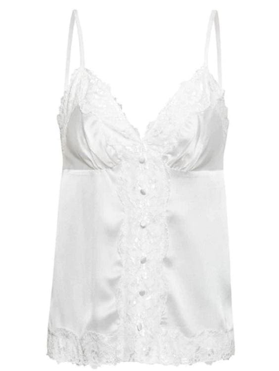Lace Trim Satin Cami Top (2Colors) - White / S