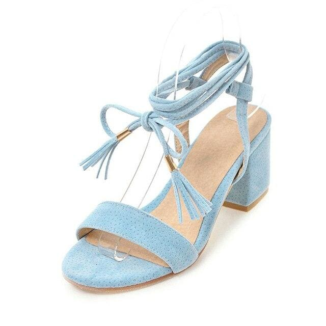 Lace-Up Strap Sandals (4 Colors) - Blue / US 4 / EU 34