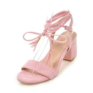 Lace-Up Strap Sandals (4 Colors) - Pink / US 4 / EU 34