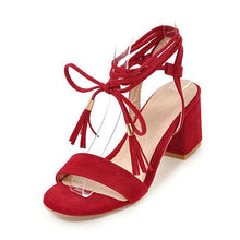 Lace-Up Strap Sandals (4 Colors) - Red / US 4 / EU 34