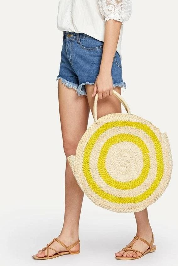 Large Striped Round Straw Bag