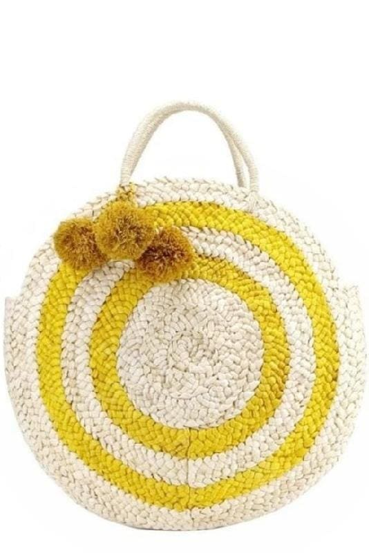 Large Striped Round Straw Bag (2∙Colors) - Yellow / With Pom-Poms