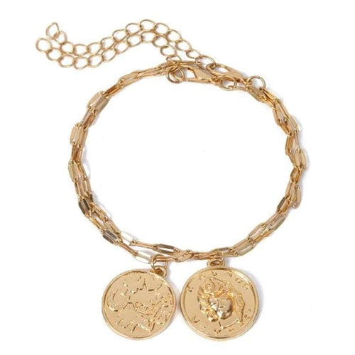 Layered Coin Embellished Bracelet (2 Colors) - Golden