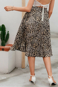 Leopard Print Pleated Midi Skirt