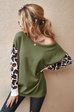 Leopard-Sleeve Sweater