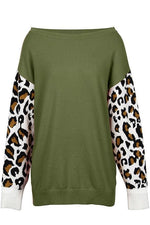 Leopard-Sleeve Sweater - S / Army Green