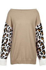 Leopard-Sleeve Sweater - S / Camel