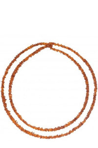Long Baltic Amber Chips Necklace (3Colors) - Cognac