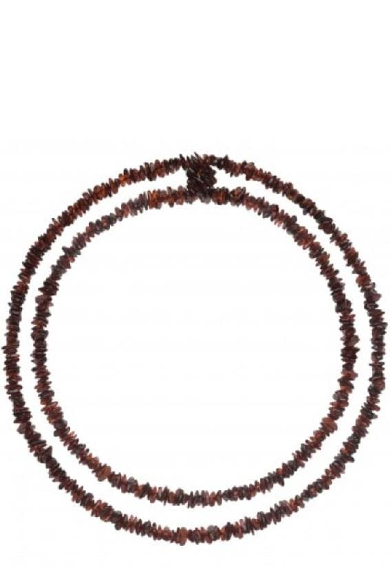 Long Baltic Amber Chips Necklace (3Colors) - Dark Cherry