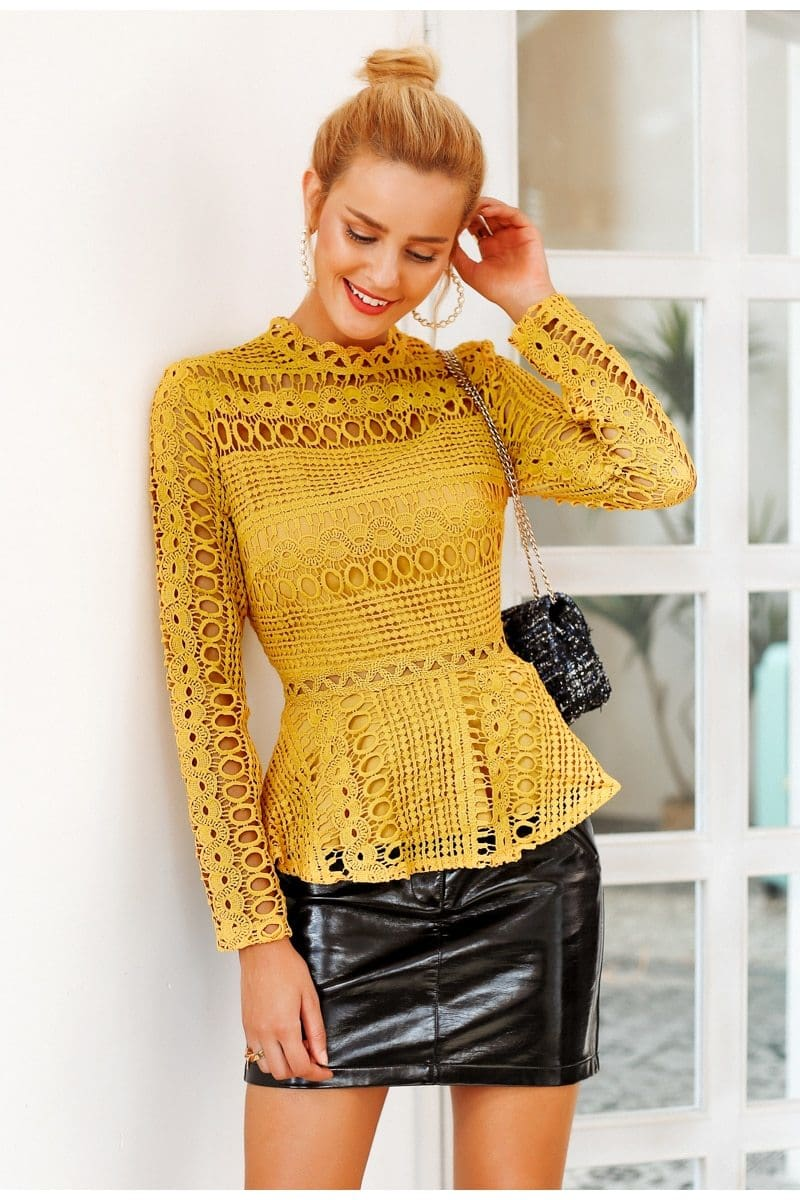 Long Sleeve Eyelet Peplum Blouse (2Colors)