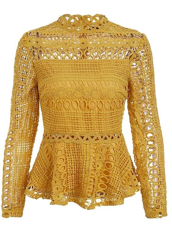 Long Sleeve Eyelet Peplum Blouse (2Colors) - Yellow / S