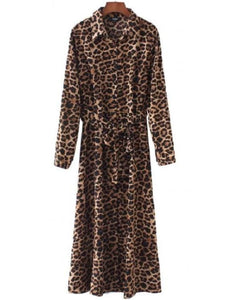 Long Sleeve Leopard Print Dress (3 Styles) - leopard print / S