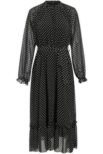 Long Sleeve Polka Dot Belted Midi Dress (2Colors) - S / Black