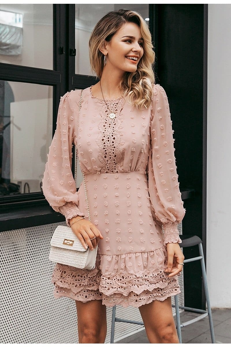 Long Sleeve Swiss Dot Lace Trim Mini Dress