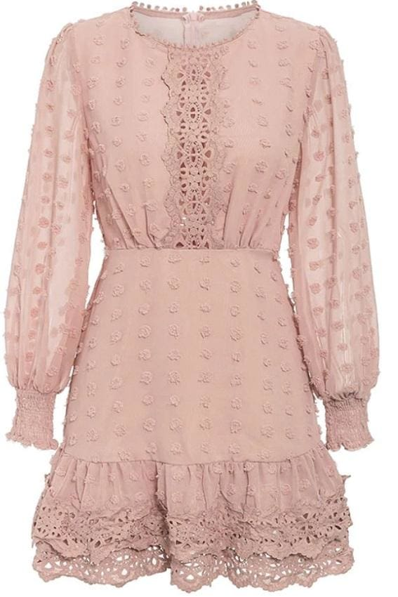 Long Sleeve Swiss Dot Lace Trim Mini Dress - S / Dusty Pink