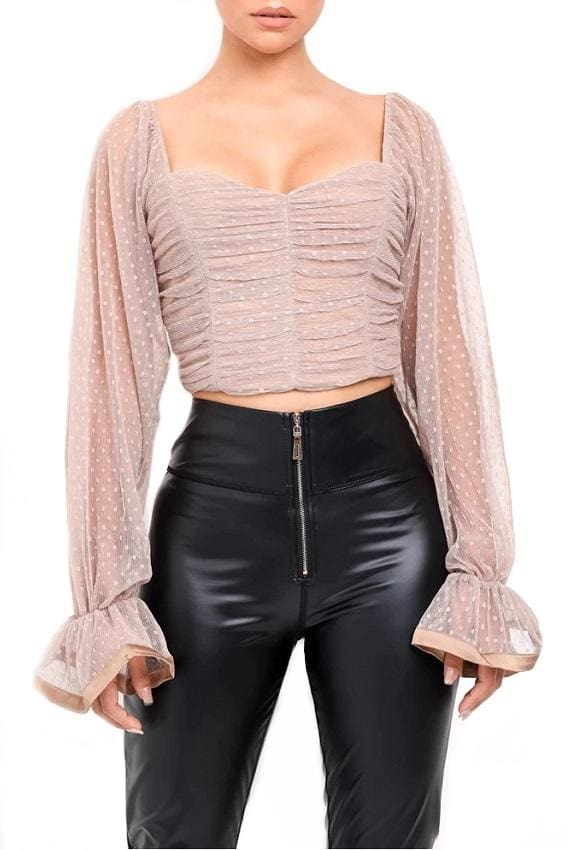 Mesh Polka Dot Long Sleeve Crop Top