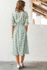 Mint Shirred Waist Ditsy Floral Midi Dress