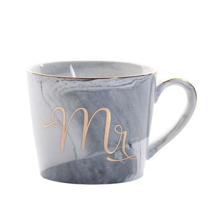 Mr & Mrs Gold Monogram Mug - Oblique Blue Mr