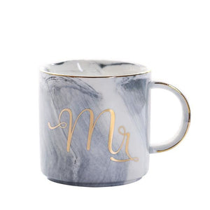 Mr & Mrs Gold Monogram Mug - Straight Blue Mr