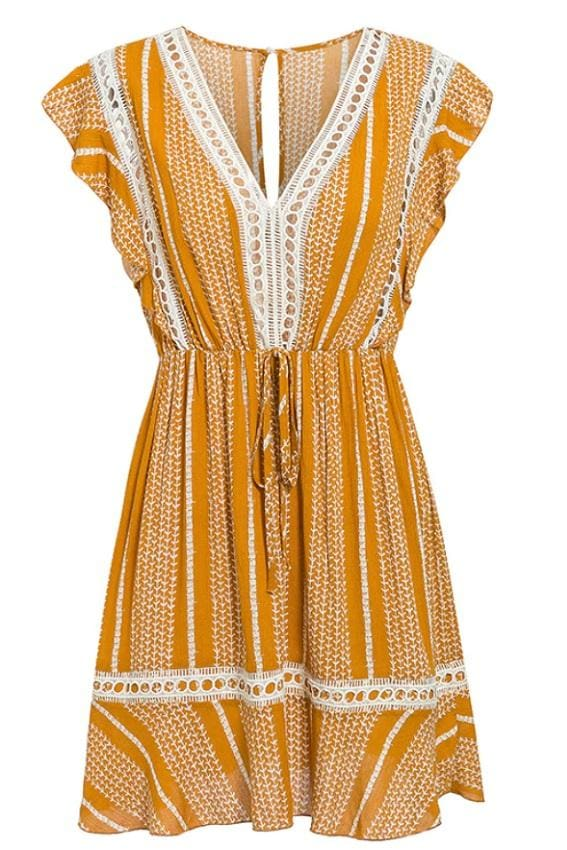 Mustard High Waist Boho Mini Dress