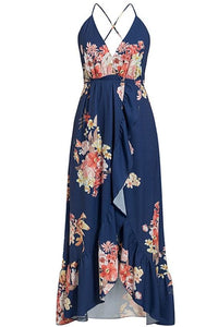 Navy Backless Floral Maxi Dress