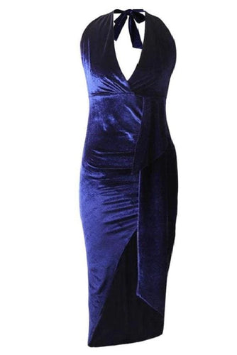 Navy Blue High Slit Halter Velvet Midi Dress