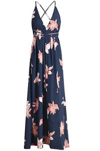 Navy Floral Print Backless Wrap Maxi Dress